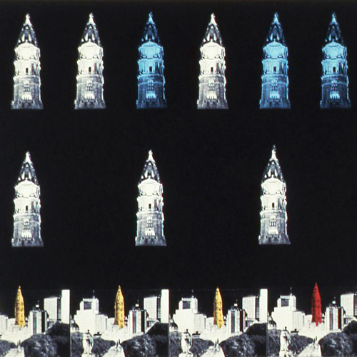 "Light Up Philadelphia image: Krystof Wodiczko's ""Proposal for City Hall Illumination."""