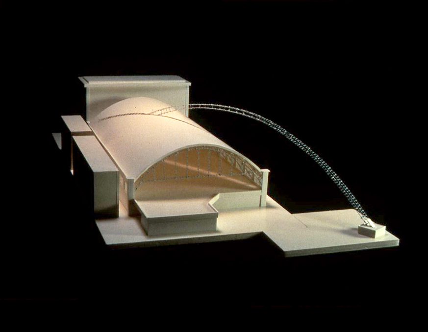 David Ireland's proposal: Maquette for Reading Terminal trainshed, skywalk and sundial. Photo Wayne Cozzolino © 1987.