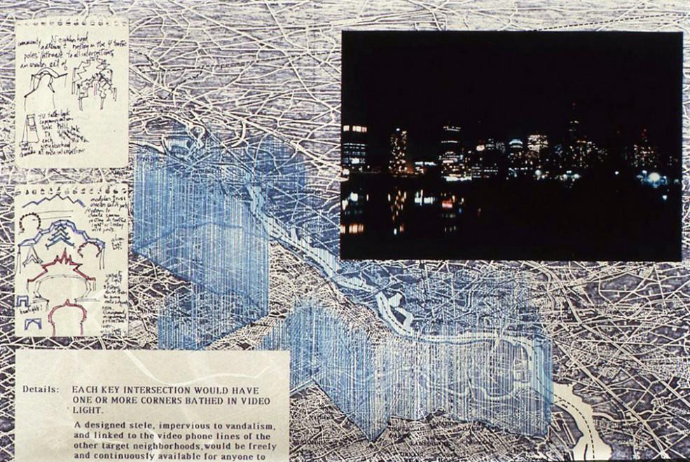 Detail of Phillips Simkin's proposal: <em>PHILADA: Lighter Than Air, Philada (Neighborhood Gateways and Video Screens), Lightly Does It, To Light Upon</em> (1987). Photo Wayne Cozzolino © 1987.