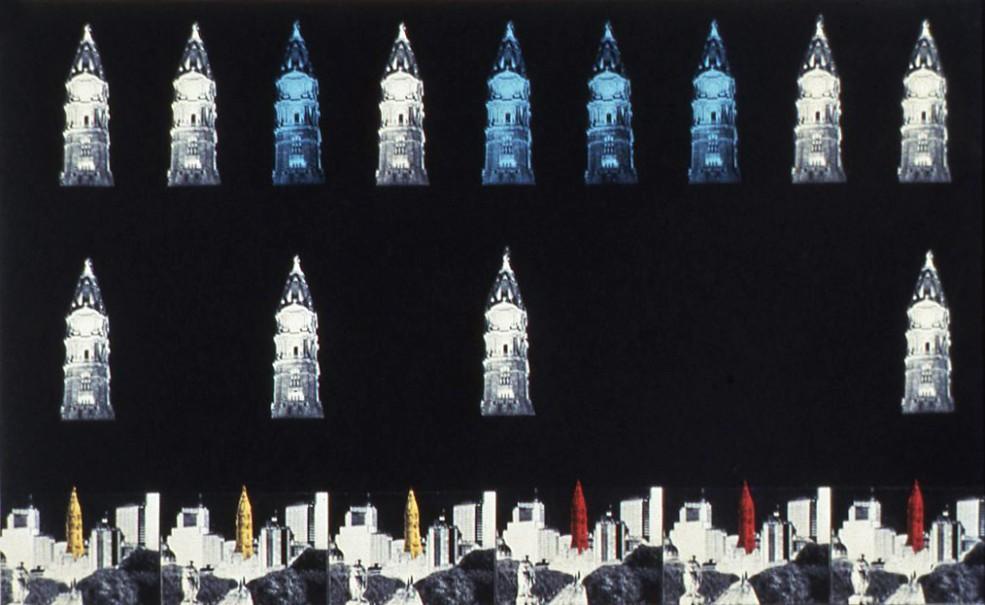 Krzysztof Wodiczko's proposal for the illumination of City Hall tower. Photo Rick Echelmeyer © 1987.