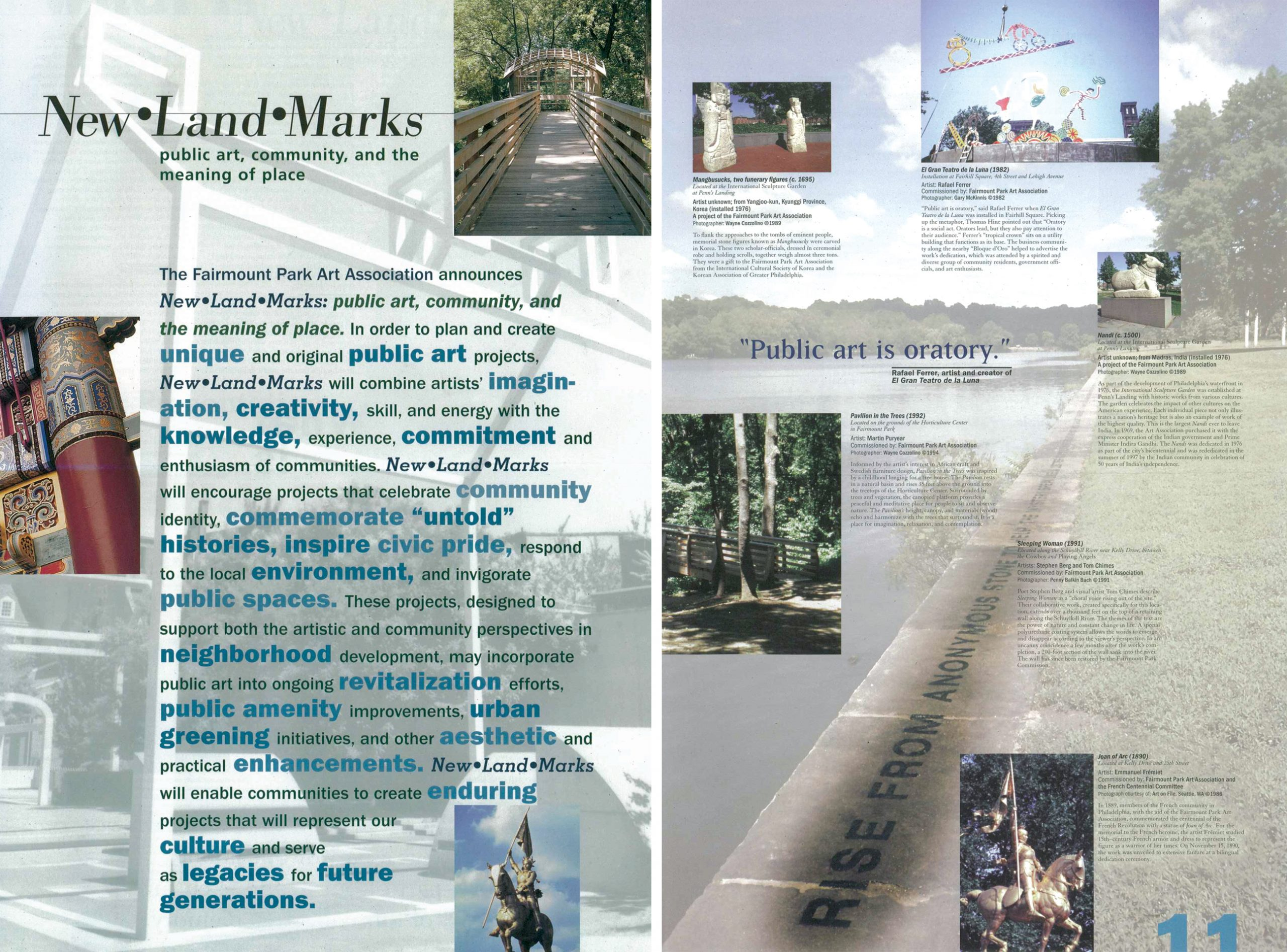 Color scan of two pages from the brochure for the New Land Marcks program