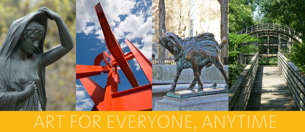 "Banner image with artworks including ""Night"" by Edward Stauch, ""Iroquois"" by Mark di Suvero, ""Billy"" by Albert Laessle, and ""Pavilion in the Trees"" by Martin Puryear"