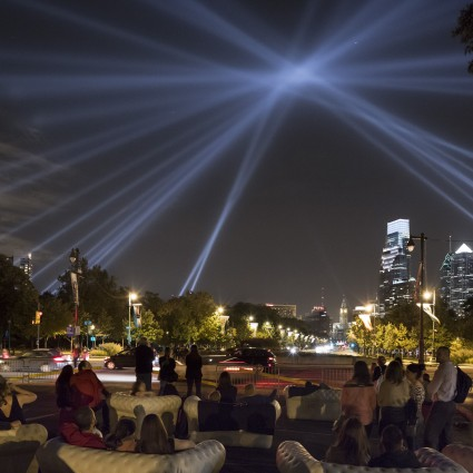 Participants gather in Eakins Oval to view OPEN AIR (2012) by Rafael Lozano-Hemmer. Photo James Ewing Photography © 2012 for the Association for Public Art.