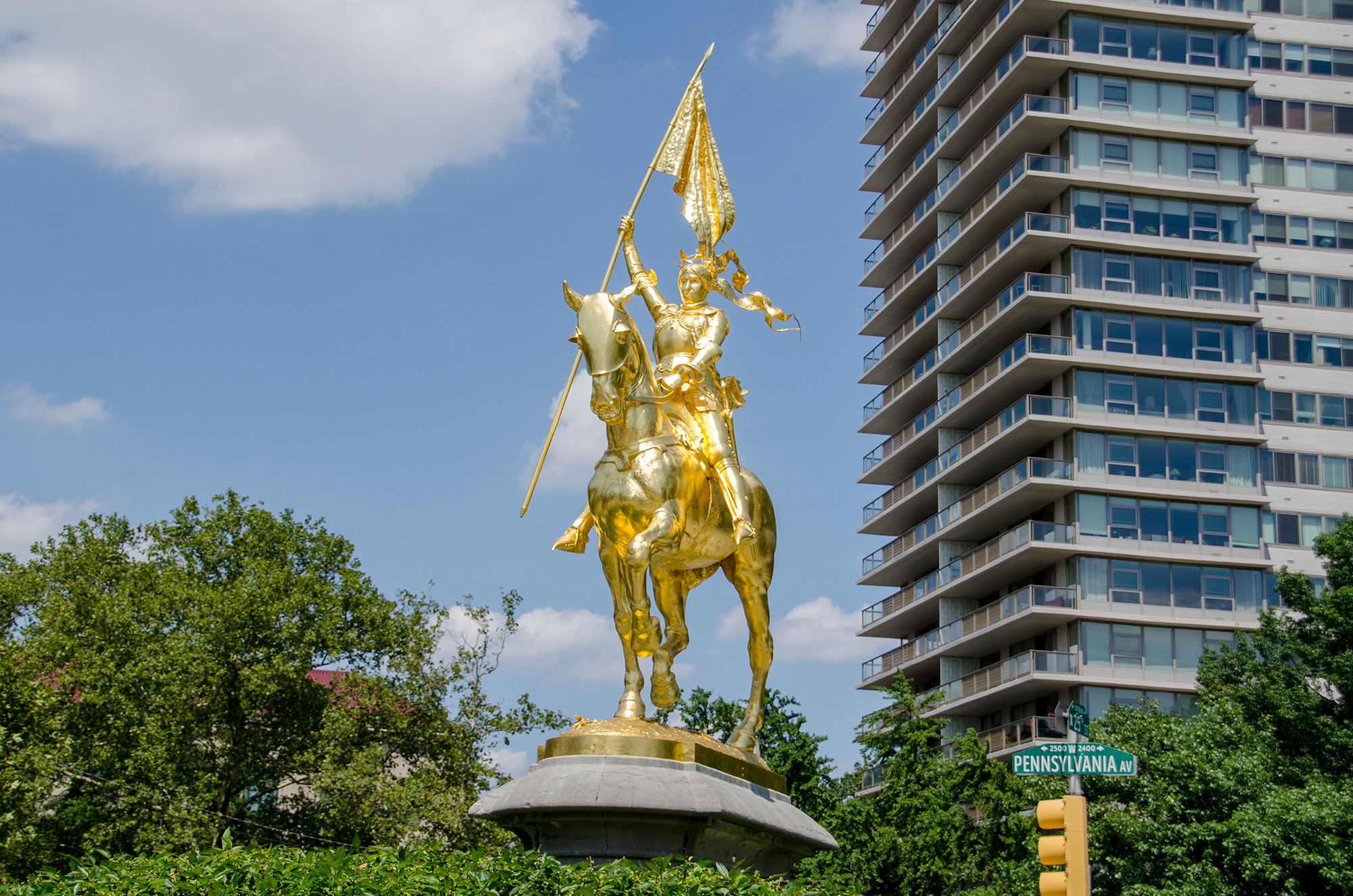 Joan of Arc golden sculpture