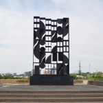 """""""Atmosphere and Environment XII"""" by artist Louise Nevelson sits behind the Philadelphia Museum of Art"""