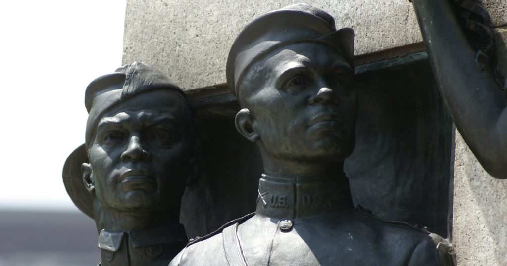 detail of All Wars Memorial to Colored Soldiers and Sailors