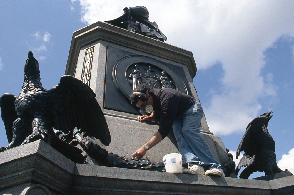 "Conservation of Randolph Rogers' ""Abraham Lincoln"" on Kelly Drive. Photo © Association for Public Art."