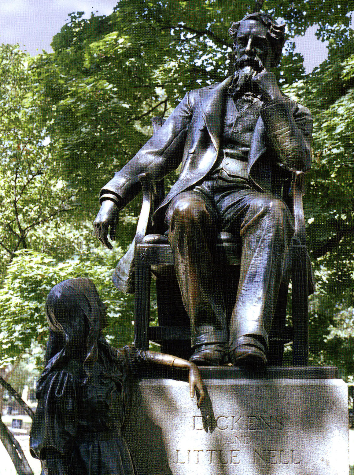 Dickens and Little Nell in Clark Park