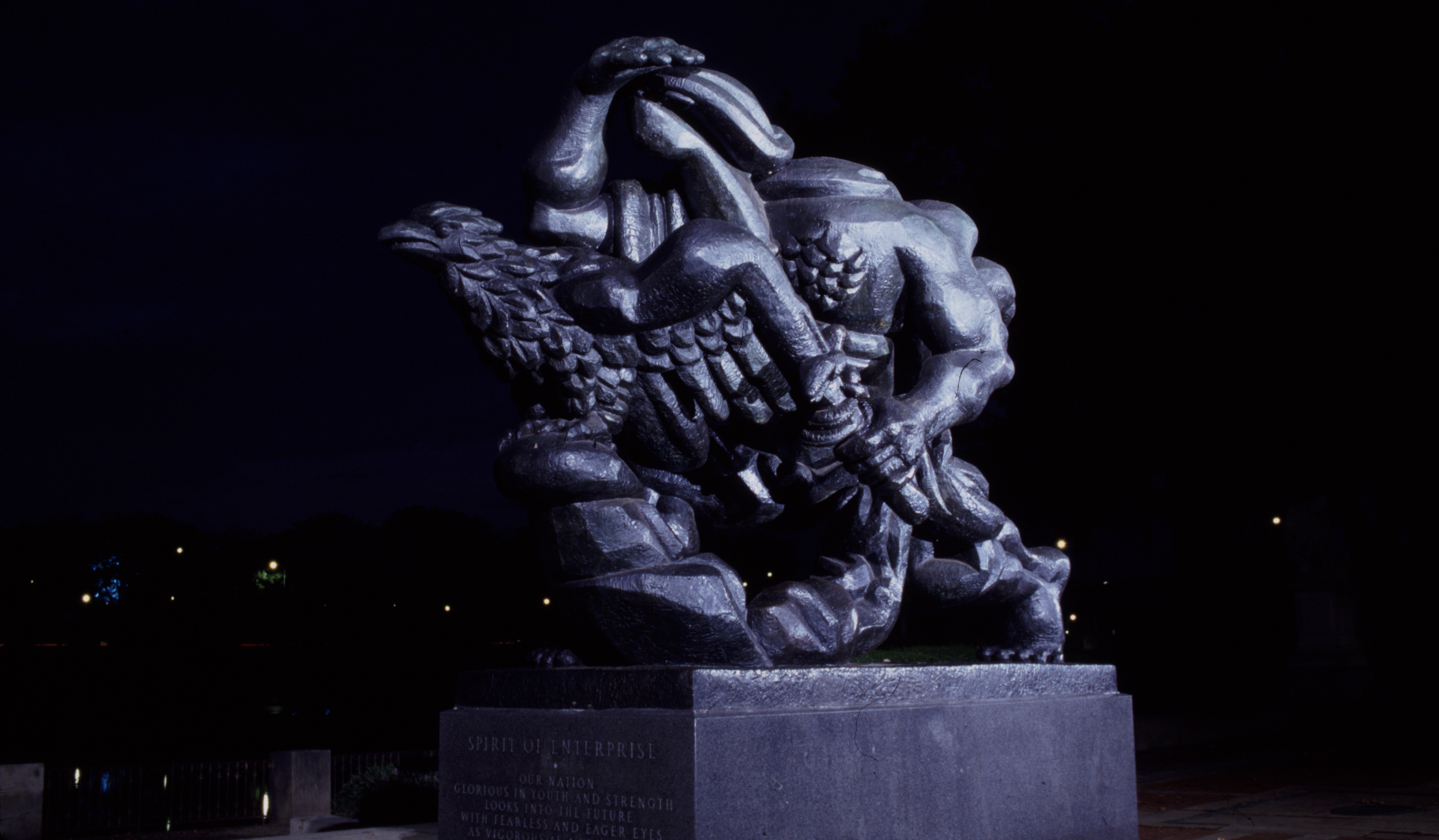 """""""The Spirit of Enterprise"""" by Jacques Lipchitz located at the Ellen Phillips Samuel Memorial"""