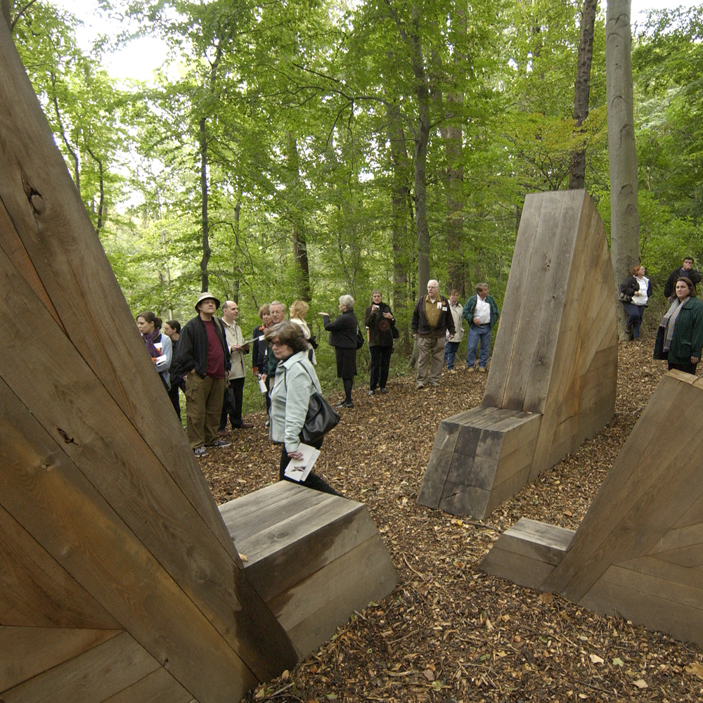 A crowd gathers at the dedication for Embodying Thoreau