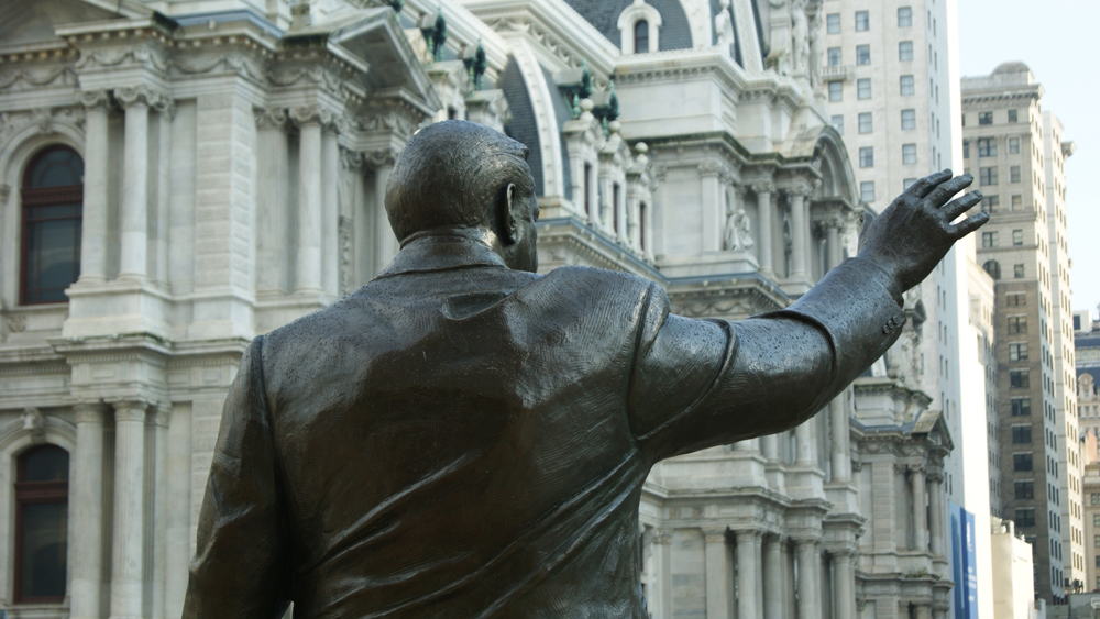 A view of the back of Zenos Frudakis's Frank Rizzo Monument