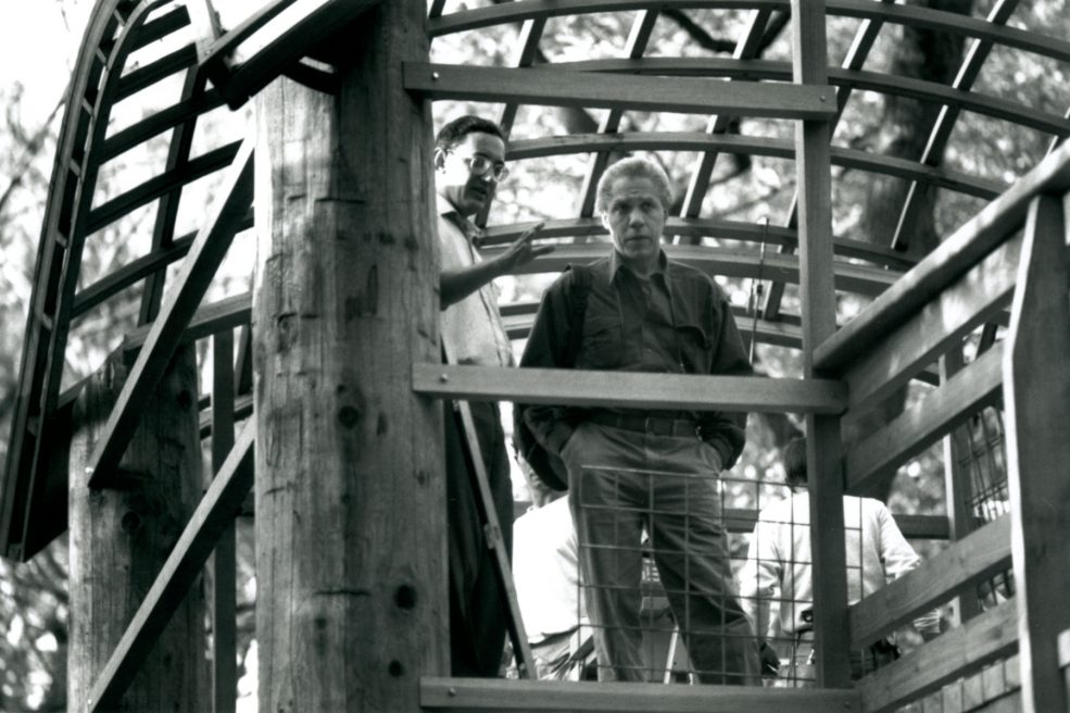 Martin Puryear at the installation of <em>Pavilion in the Trees</em>. Photo Wayne Cozzolino © 1993 for the Association for Public Art.