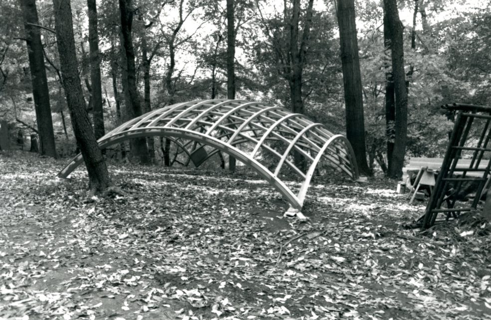 The canopy of the pavilion during installation. Photo Wayne Cozzolino © 1993 for the Association for Public Art.