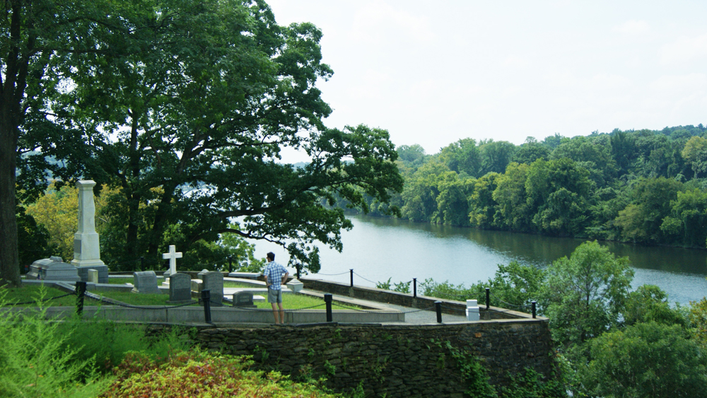 An expansive view overlooking the Schuylkill River at Laurel Hill Cemetery