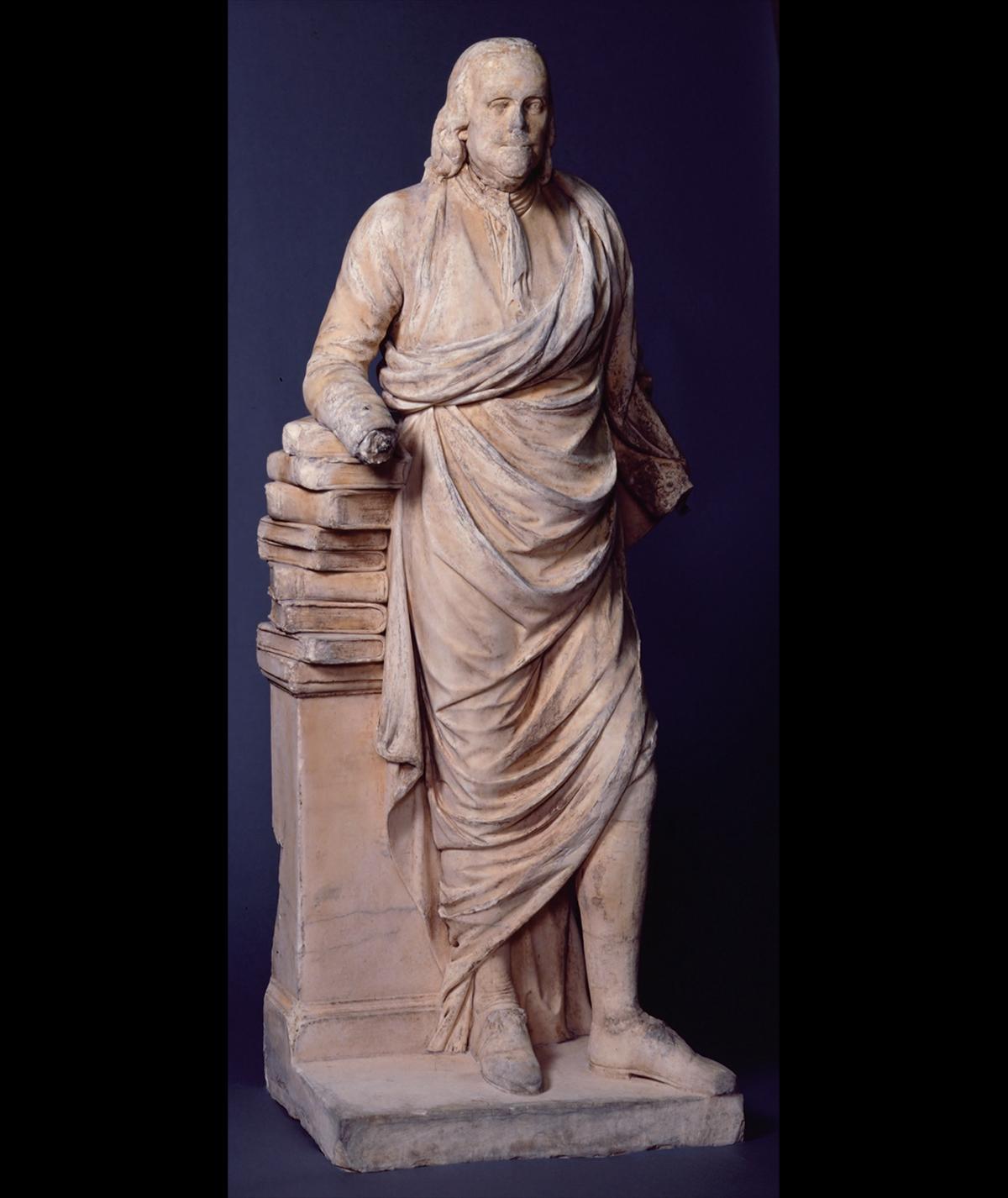 Benajmin Franklin marble sculpture