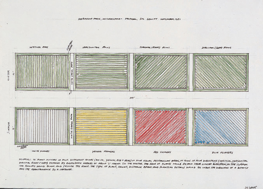 "Sol LeWitt's 1981 proposal for ""Lines in Four Directions in Flowers"""