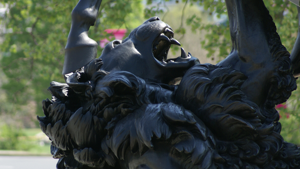 Albert Wolff's The Lion Fighter on the steps of the Philadelphia Museum of Art