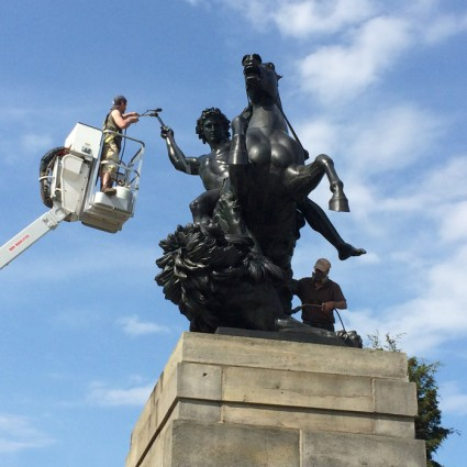 "Conservation of ""The Lion Fighter"" sculpture in front of the Philadelphia Museum of Art"