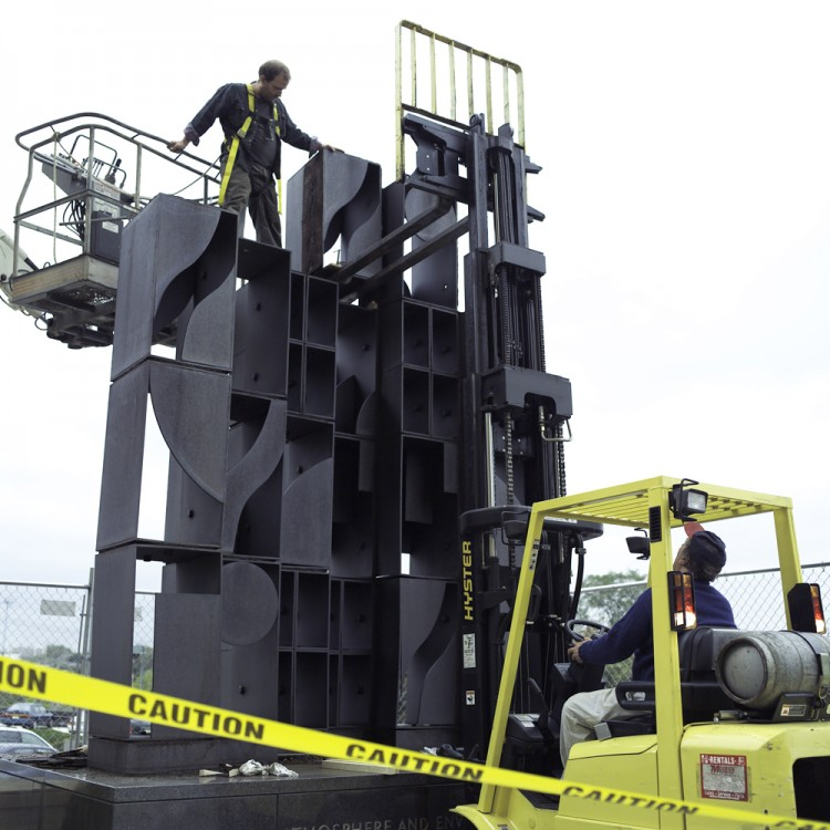 The 2007 conservation and reinstallation of Louise Nevelson's <em>Atmosphere and Environment XII</em> (1970) at the Philadelphia Museum of Art. Photo © Association for Public Art.
