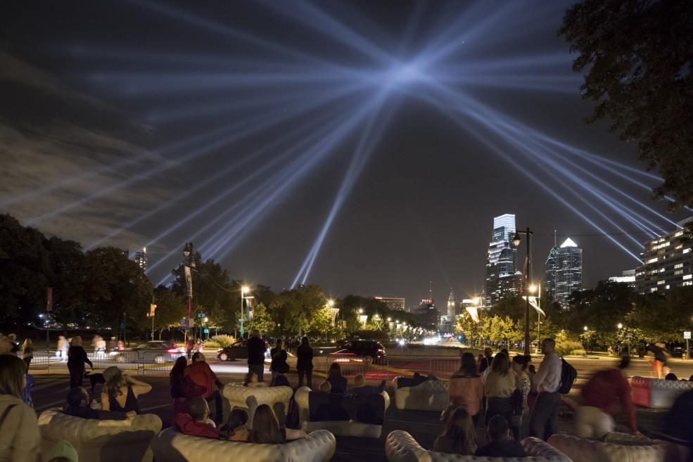 Rafael Lozano-Hemmer's OPEN AIR (2012) installation on the Benjamin Franklin Parkway, commissioned by the Association for Public Art. Photo James Ewing Photography © 2012 for aPA.