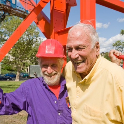 """Philanthropist David Pincus with artist Mark di Suvero in front of """"Iroquois"""" on the Benjamin Franklin Parkway"""