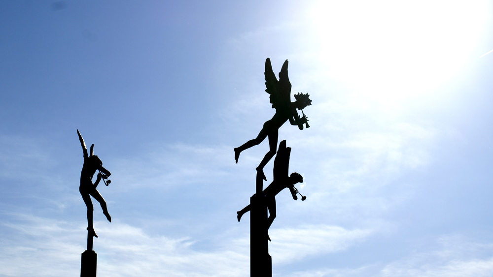 "Silhouette of Carl Milles' ""Playing Angels"""