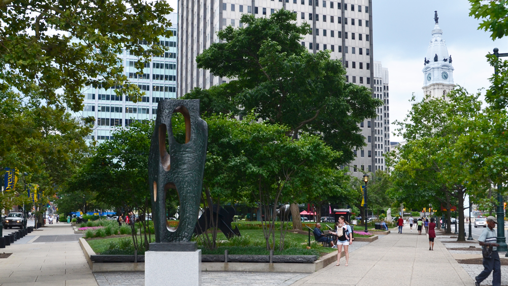 "Barbara Hepworth's ""Rock Form"" sculpture along the Benjamin Franklin Parkway"
