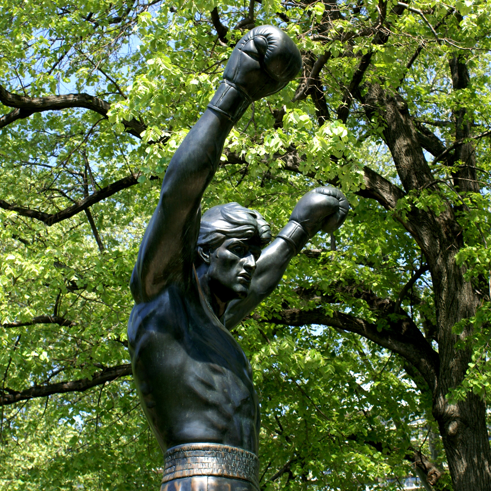 Detail of A. Thomas Schomberg's Rocky statue