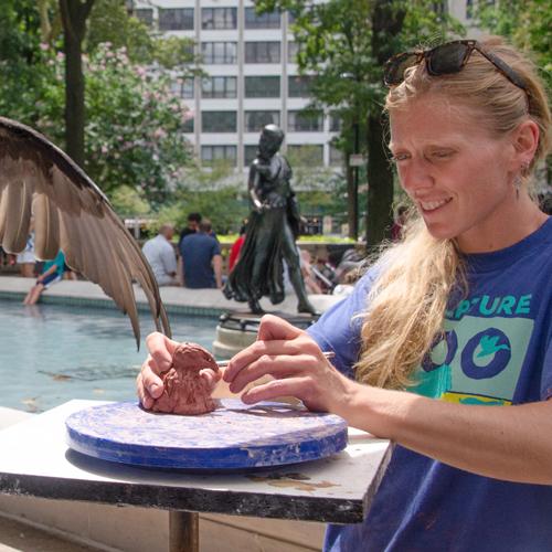 Sculptor Colleen Rudolf at Sculpture Zoo
