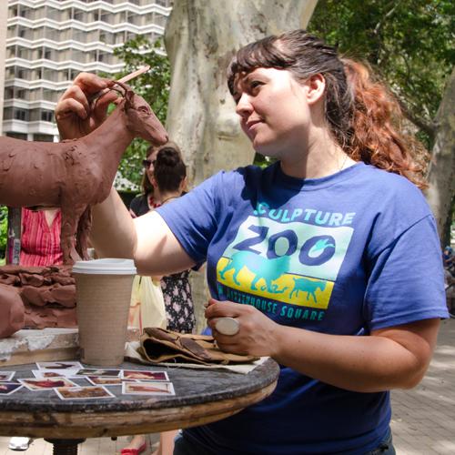 Sculptor Darla Jackson at Sculpture Zoo