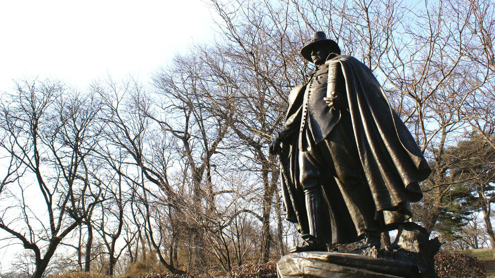 Augustus Saint-Gaudens' Pilgrim sculpture on Kelly Drive