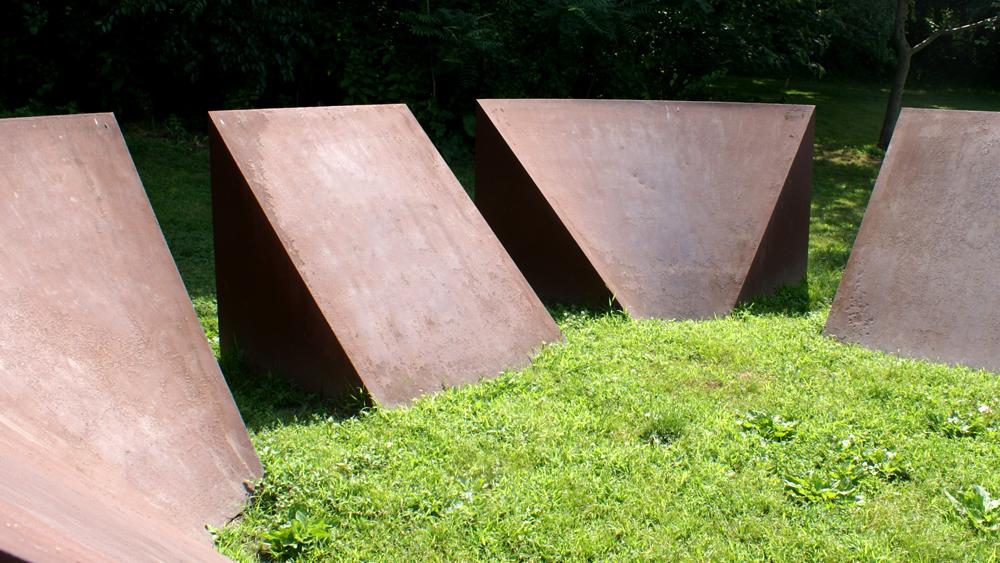 Detail of Robert Moriss' Wedges sculpture on Kelly Drive