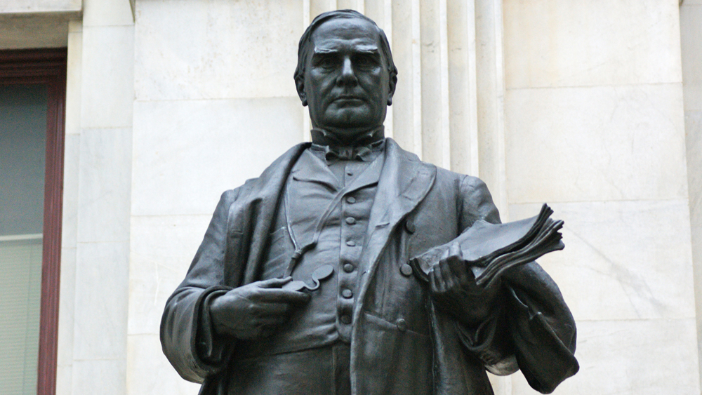 Detail of the statue of William McKinley outside of Philadelphia's City Hall