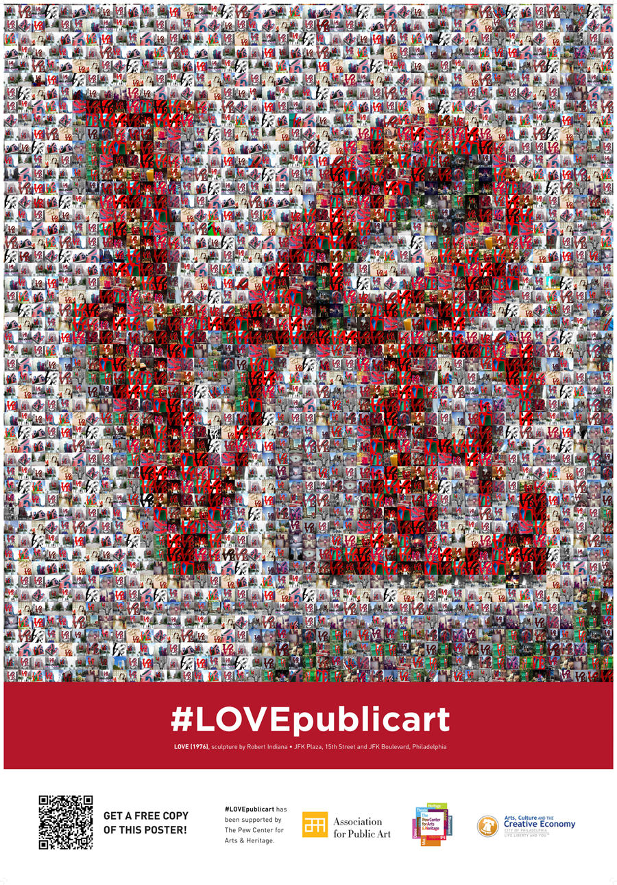 LOVEpublicart photomosaic poster - photographs of Robert Indiana's LOVE sculpture in Philadelphia