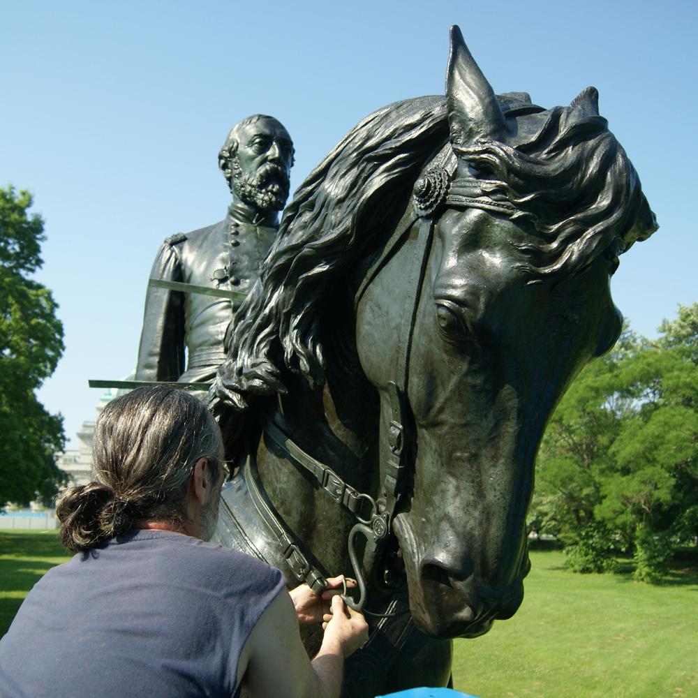 Sculpture of General Meade being restored
