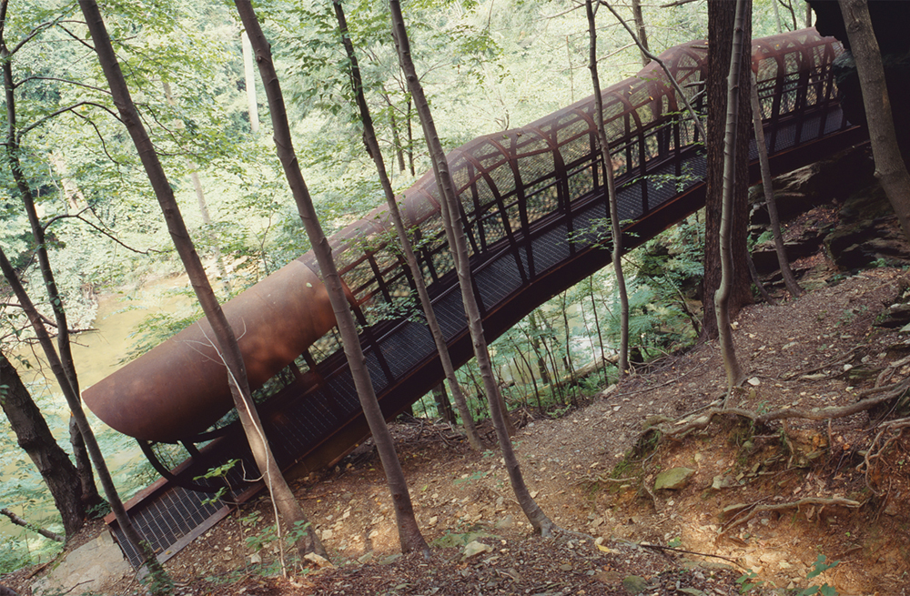 "Jody Pinto's ""Fingerspan"" (1987) in the Wissahickon. Photo Wayne Cozzolino for the Association for Public Art."