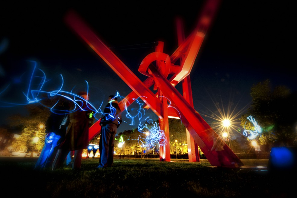 """Sculpture Flashlight Mob"" event. Photo Dan Sweeney © 2012."