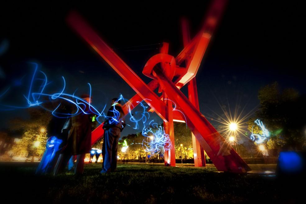 """Sculpture Flashlight Mob"" event. Photo Dan Sweeney © 2012."
