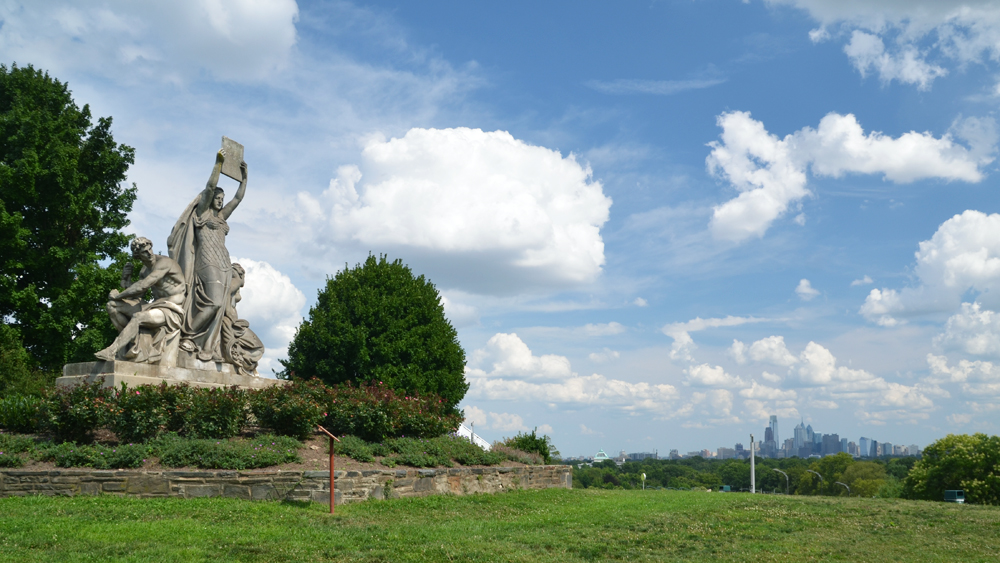 Law, Prosperity, and Power sculpture in Fairmount Park