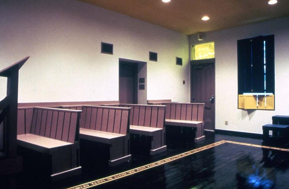 The <em>Louis Kahn Lecture Room</em> by artist Siah Armajani. Photo © Association for Public Art.