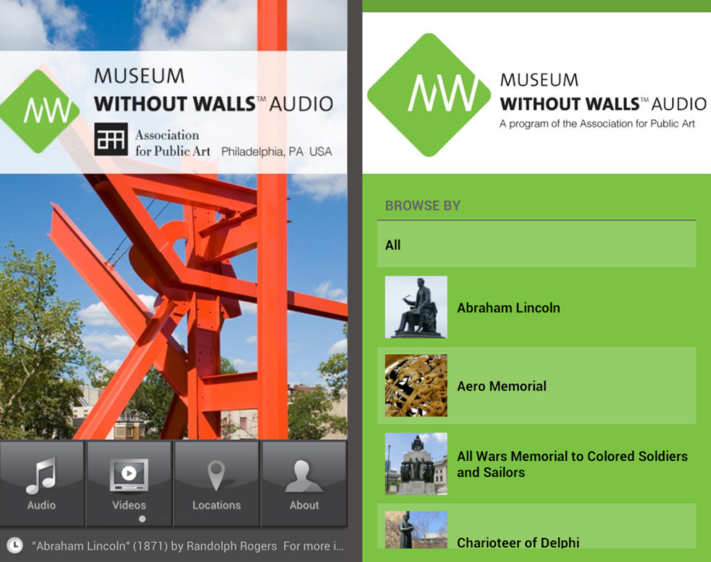 Screenshot of the Museum Without Walls: AUDIO mobile app