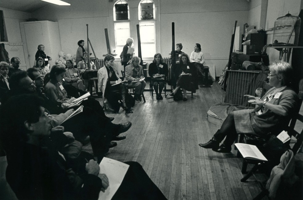 """Public Art School, Fleisher Art Memorial, """"Artist Selection Process,"""" led by Mary Beebe; part of Public Art in America '87. Photo Gary McKinnis © 1987 for the Association for Public Art"""