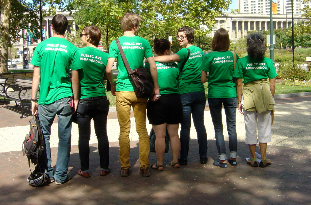 Team of Public Art Ambassadors in green shirts