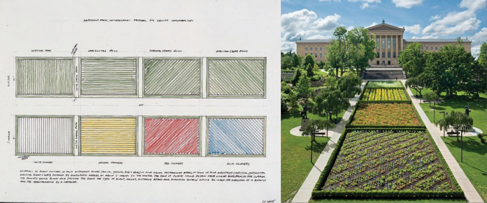 The Association for Public Art commissioned this 1981 Sol LeWitt proposal (pictured left) for <em>Lines in Four Directions in Flowers</em>, realized in 2012 (pictured right) by the Philadelphia Museum of Art.