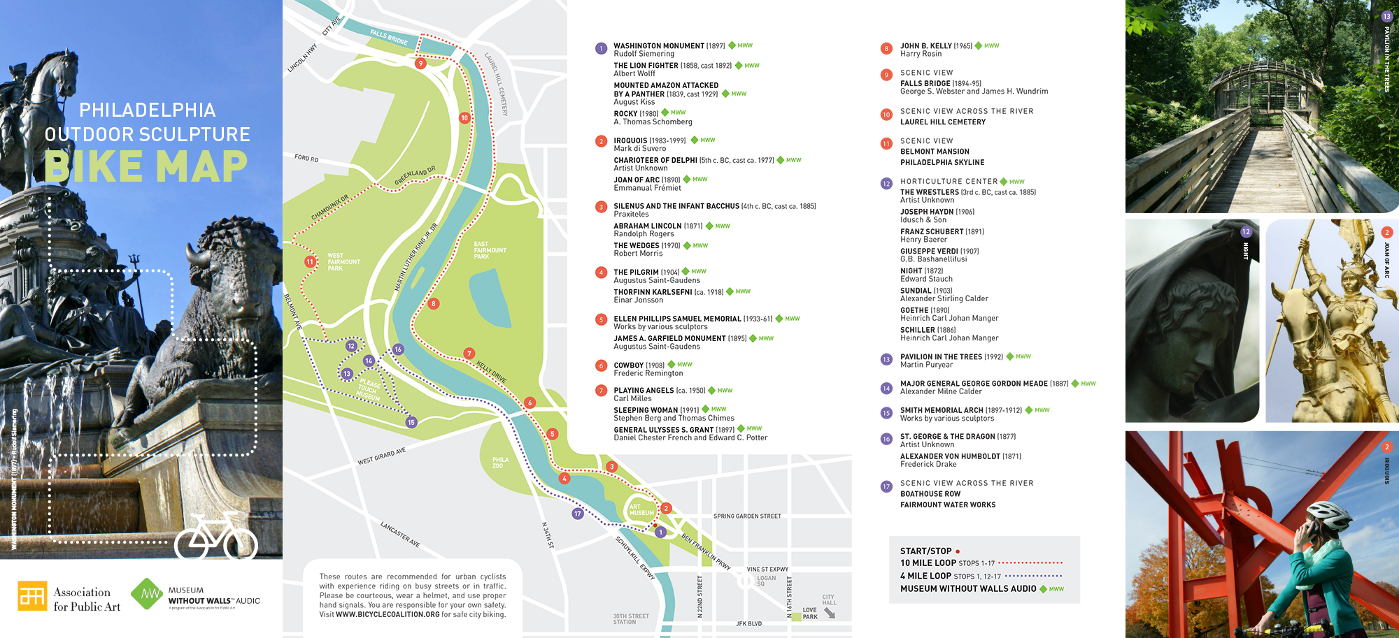 Public Art Bike map for Fairmount Park, Philadelphia
