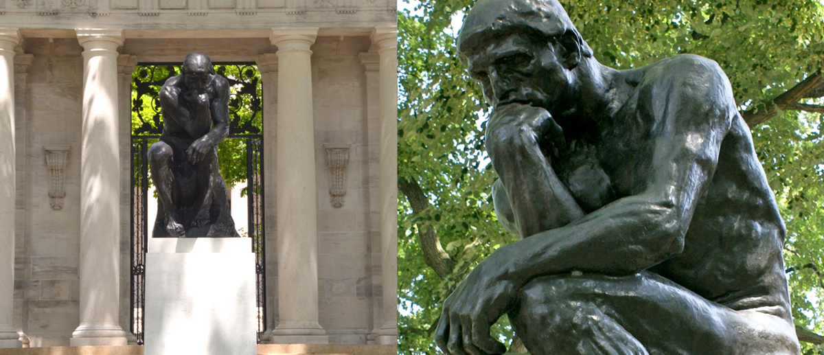 Two views of Auguste Rodin's The Thinker sculpture in front of the Rodin Museum in Philadelphia