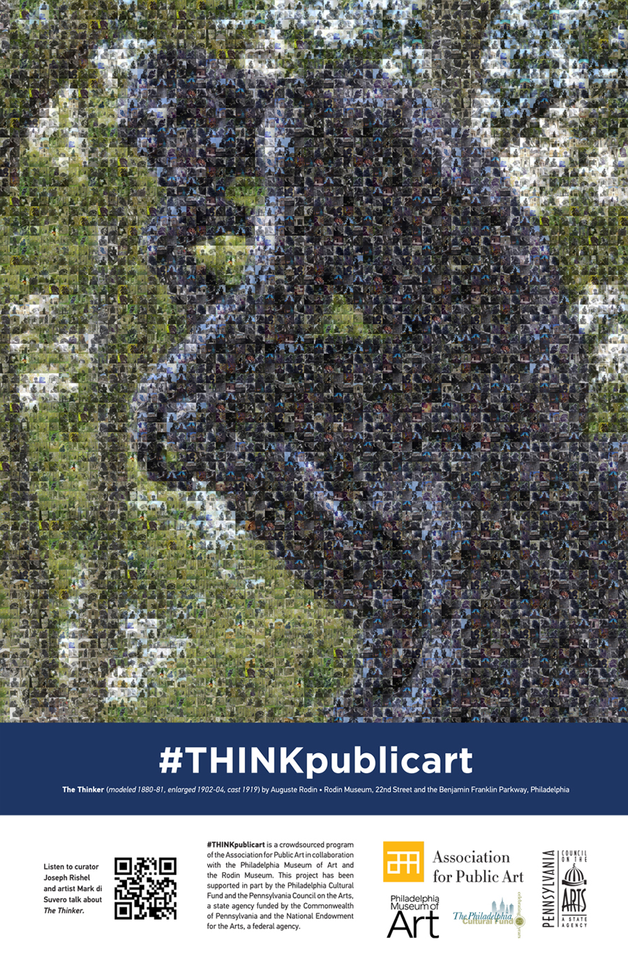 "THINKpublicart photomosaic poster comprised of photo submissions of Auguste Rodin's ""The Thinker"" sculpture in Philadelphia"
