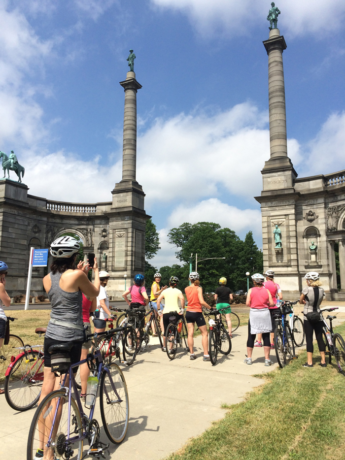Public Art Bike Tour stops at Smith Memorial Arch in West Fairmount Park
