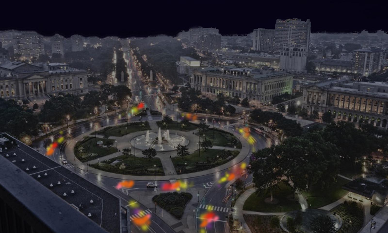 Digital sketch of Cai Guo-Qiang's Fireflies public artwork
