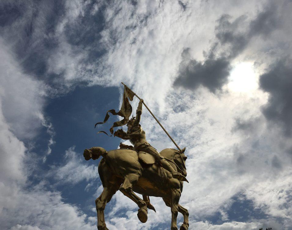 Winning photo from Chuck Bonfig's Phone Photography workshop. Photo by Sharina Mason. (Sculpture: <em>Joan of Arc</em>)